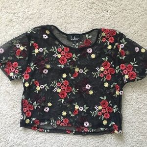 Lulu's embroidered mesh floral crop top